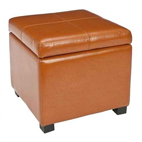 Hawthorne Collections Beech Wood Leather Storage Ottoman in Saddle