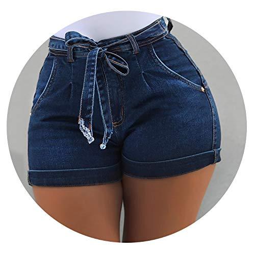 Dendrobium Women's Shorts Denim Belt Pocket Ladies Shorts Female Summer Denim Shorts,Dark Blue,M,CN]()