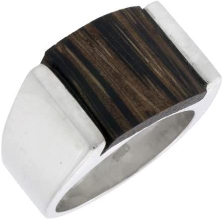5//8 Wide Sterling Silver Square-Shaped Ring 16mm Size 9.5 w//Ancient Wood Inlay