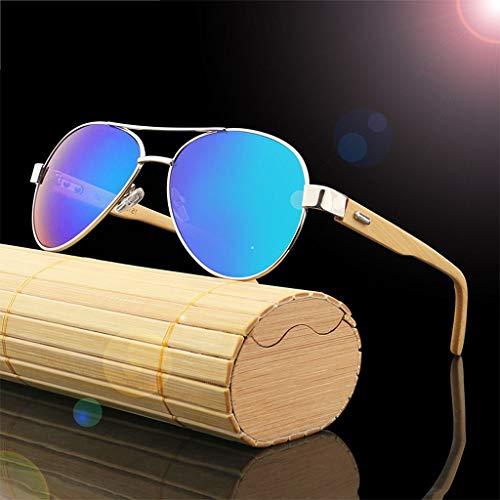 Bambou à en en de d'équitation et et Lunettes Lunettes Brown Monture UV Protection métal Bois Bambou Soleil Soleil Conduite Bleu de Lunettes Couleur Lunettes Unisexes qpw81Ip