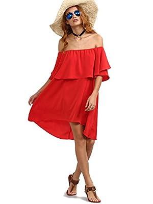 ROMWE Women's Off the shoulder Ruffle casual loose shift Dress 3 Colors