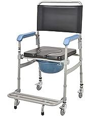 Rolstoel Opvouwbaar Lichtgewicht, Met Verrijdbare Toiletstoel/Rolstoel Douche Transportstoel/Badkamer Badkruk, 4 Wielremmen (360°)/Mobiel Toilet Bejaarde Gehandicapte Persoon