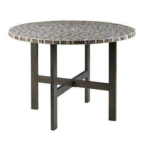 Mosaic Round Dining Table Grey Blue/Gunmetal See Below