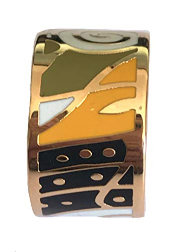 Luxury Defined Luxurius Gold Plated Stainless Steel Assorted Enamel Ring 13MM Wide (Orange, 8)