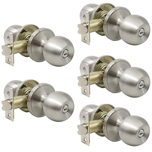 Probrico Satin Nickel Finish Lockset Keyless Privacy Interior Doors Bed and Bath Handle knobs 5 Pack ()