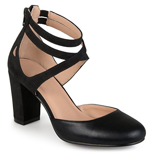 [Journee Collection Womens Ankle Strap Round Toe Mary Jane Pumps Black 7] (Journee Collection)
