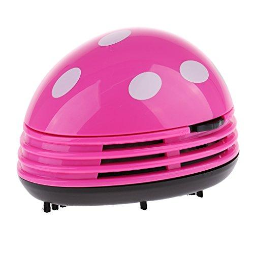 Baoblaze Cute Portable Pink Strawberry Ladybug Cartoon Mini Desktop Vacuum Desk Dust Cleaner Crumb Sweeper