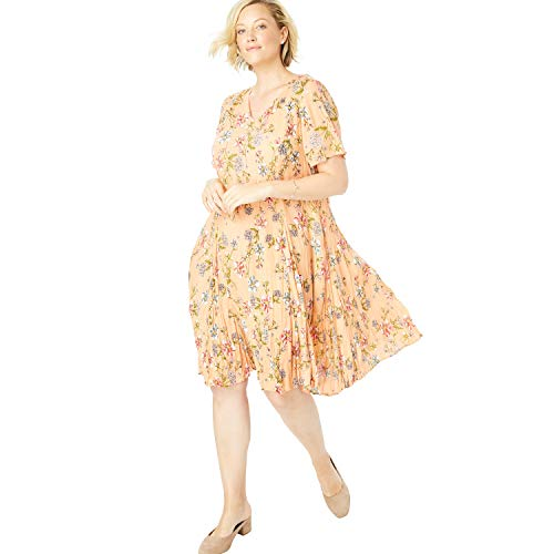 Woman Within Women's Plus Size Short Crinkle Dress - Sunset Peach Floral Bloom, 20 W