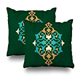 KJONG Arabic Floral Frame Traditional Islamic Mosque Zippered Pillow Cover,18 x 18 inch Square Decorative Throw Pillow Case Fashion Style Cushion Covers(Two Sides Print)