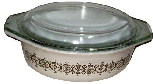 Vintage Pyrex Promotional Oval Olive Medalion 1 1/2 Quart Casserole Baking Dish