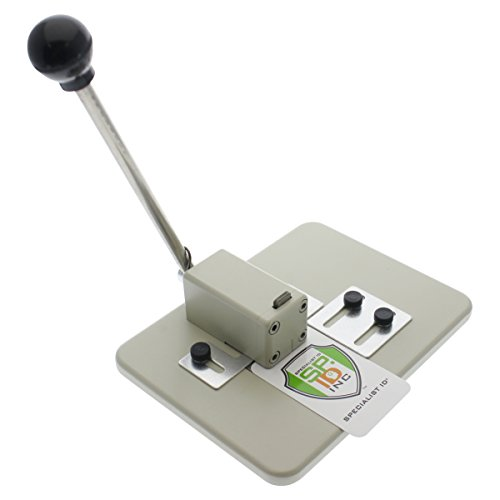 Heavy Duty Table Top Slot Punch for ID Badges with Precision Adjustable Top & Side Slide Guides by Specialist ID - Arcade Single Hole
