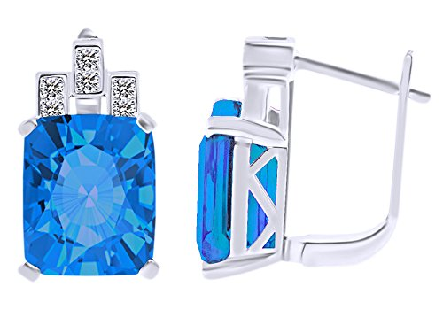 (Emerald Cut Simulated Blue Topaz & White CZ Hoop EarringsIn 14k White Gold Over Sterling Silver)