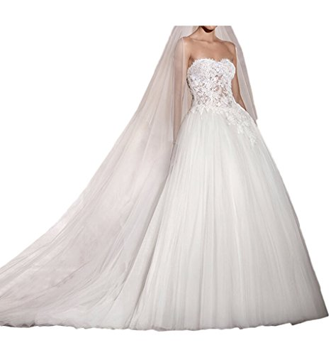 MILANO BRIDE Gorgeous Bridal Wedding Dresses Ball Gown Strapless Tulle Lace-4-Light Ivory