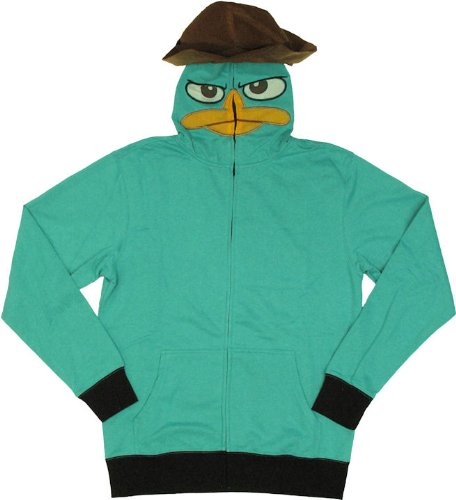 Phineas & Ferb Men's I am P Fleece Hoodie, Turquoise, Medium -