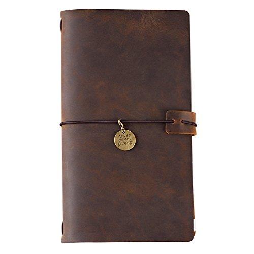 Refillable Travelers Notebook Leather Jouranl - Grid Insert, Zipper Pouch & Kraft File, Bronze Charm, Standard Size, Brown