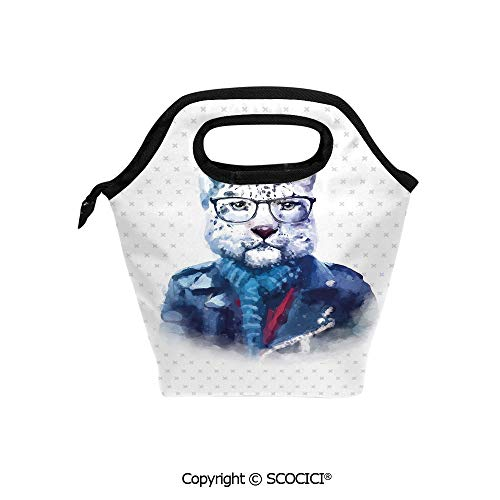 Portable thickening insulation tape Lunch bag Portrait of Serious Looking Leopard Male Jungle Animal with Jacket Watercolors Decorative for student cute girls mummy bag. ()