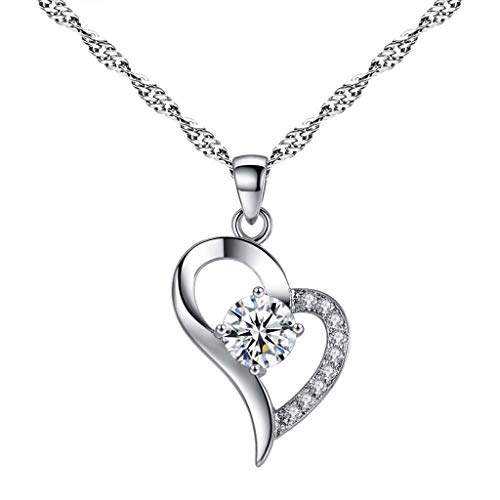 Womens Jewelry Clearance Sale! Women Fashion Heart Pendant Necklace Heart Shape Love Crystal Necklace Jewelry Jewelry Under 5 Dollars Valentine's Day Gifts for Girlfriend