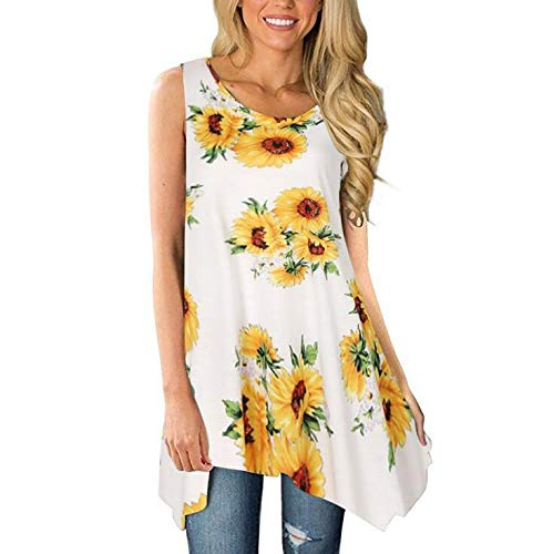 Women's Sleeveless Casual Blouse Soft Sexy Sunflowers Print Round Neck High Low Hem Tunic Tank Tops Vest Shirts Amiley (2XL, Yellow)