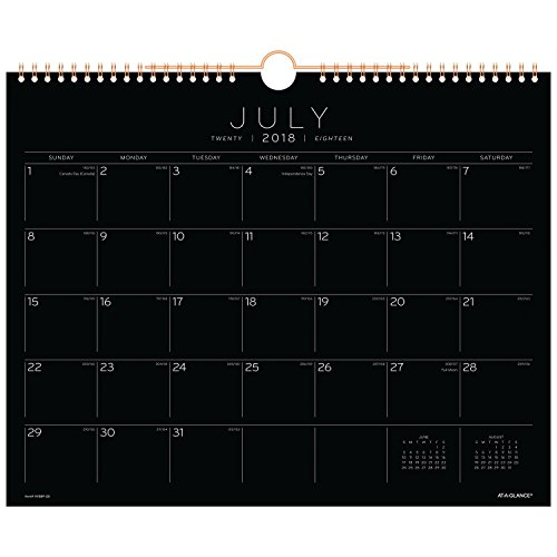 Hanging Blocks (at-A-Glance 2018-2019 Academic Year Wall Calendar, Medium, 14-7/8 x 11-7/8, Wirebound, Black Paper (AY8BP28))