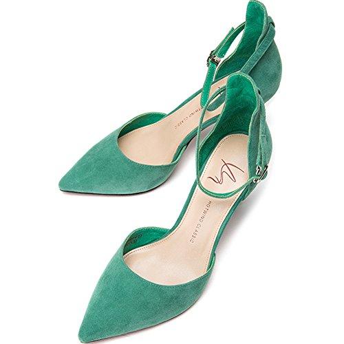 Peu H04W8514 Profond Bouche Hauts Amende Printemps Green Chaussure Mesdames Et Talon Talons De Été Élégant Sunny zTFqxF