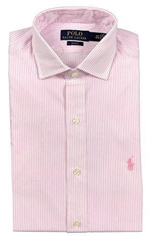 (Ralph Lauren Polo Mens Spread Collar Pony Logo Striped Dress Shirt Pink/White (16 32/33))