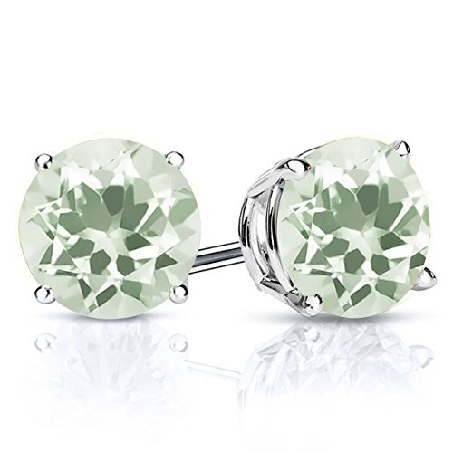 2.50 Ct Round 7MM Green Amethyst 925 Sterling Silver Gemstone Stud Earrings