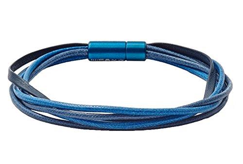 Tateossian RT Italian Leather and Wax Corded Bracelet - Blue, Medium 18cm