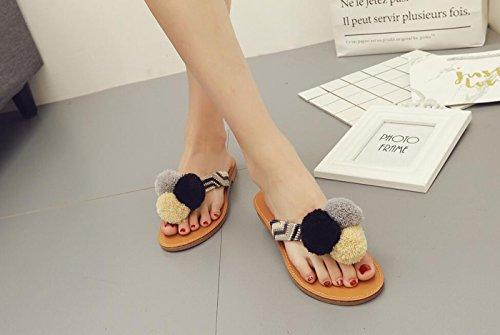 Dimensione e Color Punta Pantofole Sandali casual Comfort Tacco DANDANJIE 36 donna Black scarpe da piatto per tonda Black infradito Estate ZTwyYgq