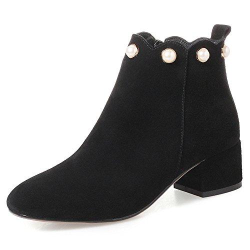 Nio Sju Mocka Läder Womens Rund Tå Chunky Häl Zip Upp Handgjorda Pärlor Dekorerade Party Boots Svart