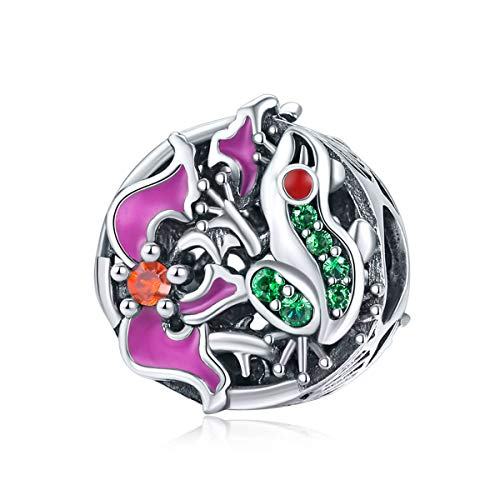 Zirconia Frog Charm - Everbling Colorful CZ Frog Adventure Round 925 Sterling Silver Bead Fits European Charm Bracelet