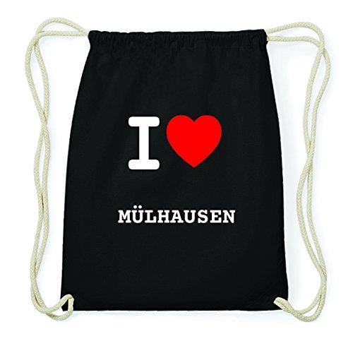JOllify MÜLHAUSEN Hipster Turnbeutel Tasche Rucksack aus Baumwolle - Farbe: schwarz Design: I love- Ich liebe 1oN365Aep0