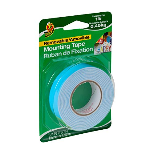 Duck Brand Removable Foam Mounting Tape, 0.75-Inch x 60 Inches, Single Roll, White - Mounting Tape Polyethylene