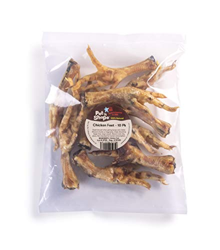 Pet 'N Shape - Made In Usa - All Natural Dog Chewz Chicken Feet Treat, 10 Count