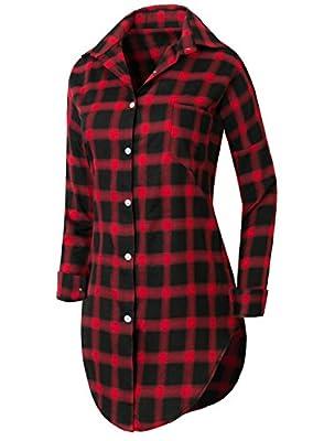 Howels Women Plaid Checkered Mid-long Shirt Dress Curved Hem Roll-tab Blouse