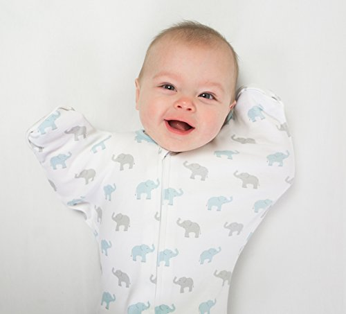 Large Product Image of Swaddle Sack with Arms Up Mitten Cuffs, Tiny Elephants, Blue, Medium, 3-6 Months