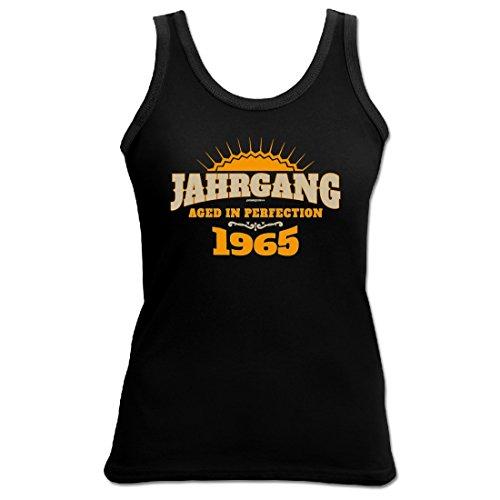 Birthday Shirt - Aged in Perfection Jahrgang 1965 - Lustiges Damen-Top als Geschenk zum Geburtstag - Schwarz