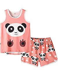 Big Girls Sleeveless Pajama Sets Cute Panda Polka Dot Sleepwear Loungewear
