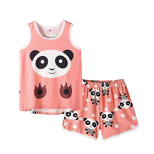 MyFav Big Girls Sleeveless Pajama Sets Cute Panda Polka Dot Sleepwear Loungewear ()