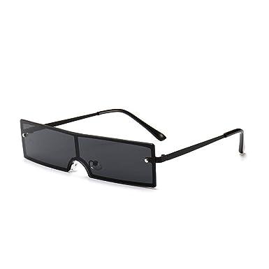 76adc1d43254 Women Men Sunglasses Small Narrow Sun Glasses Retro Rectangle Brand Designer  Female Rimless Ultralight (black