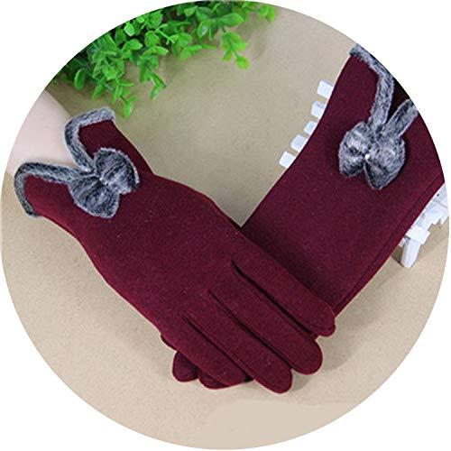 Winter Warm Gloves Solid Lace Cashmere Gloves Wrist Length Fashion Mittens Gloves,G096 Wine ()