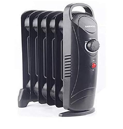 Daewoo Mini Oil Filled Radiator Heater - 800 Watt (Black)