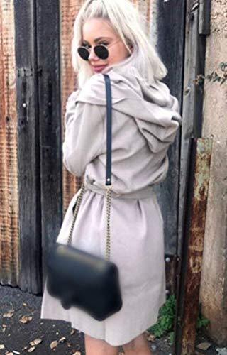 Larga Cinturón Invierno Cardigan Mujer Laterales Manga con Gabardina Solapa Grau con Outerwear De Moderno Bolsillos Capucha Capa Huixin Estilo Color Sólido Gabardinas Modernas qwPwC0