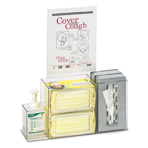 Clearform ML5240 Acrylic Respiratory Hygiene Station with Sign Holder by Clearform
