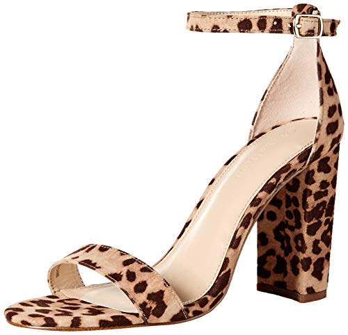 The Drop Women's Rebecca Strappy High Block Heel Sandal, Leopard Print Microsuede,...