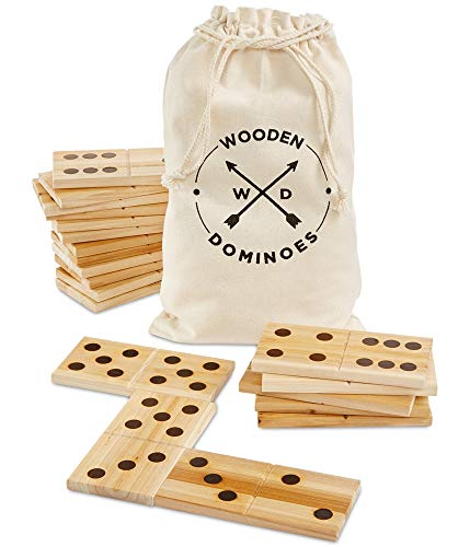 Wood Set Dominoes - Refinery And Co. 28 Piece Jumbo Wood Dominoes Game Toy Set, Oversized Tiles Measure 7 x 3 Inches, Includes Canvas Carrying Bag for Storage, Indoor/Outdoor Use, Great for Backyard Parties