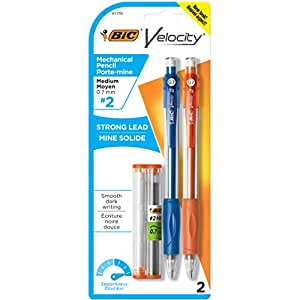 BIC Velocity Mechanical Pencil, Medium Point (0.7 mm) - Pack of 2 With Extra Leads & Erasers