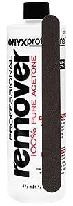 Onyx Professional 100% Acetone Nail Polish Remover with Nail File Removes Artificial Nails, Nail Polish, Gel Polish and Glitter Polish, 16 oz
