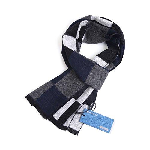 - FULLRON Men Winter Cashmere Scarf - Black Navy Plaid Scarves