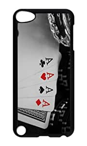 Ipod 5 Case,MOKSHOP Unique Four aces poker cards Hard Case Protective Shell Cell Phone Cover For Ipod 5 - PC Black