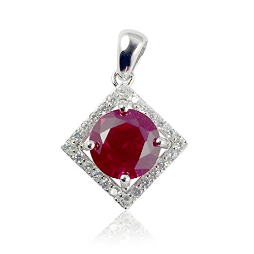 Halo Bridal Pendant Square Round Simulated Red Ruby Cubic Zirconia 925 Sterling Silver